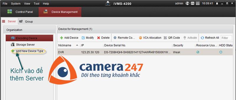 Thêm máy chủ lưu trữ cho việc ghi hình trên Storage Server 1