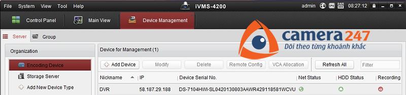 Thêm thiết bị cần lưu trữ cho việc ghi hình trên Storage Server2