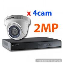 Lắp đặt trọn gói 04 camera quan sát Hikvision HD-TVI 2MP