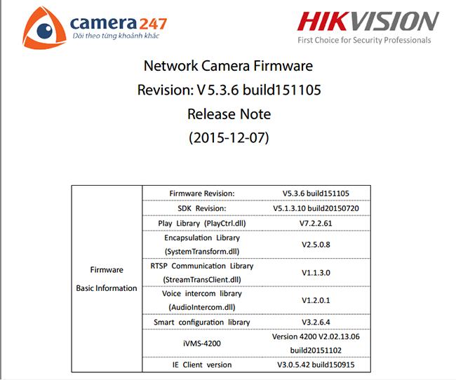 Tải về Network camera firmware V5.3.6