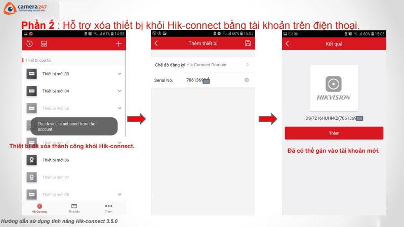 Hướng dẫn xóa tài khoản Hik-Connect phiên bản 3.5.0