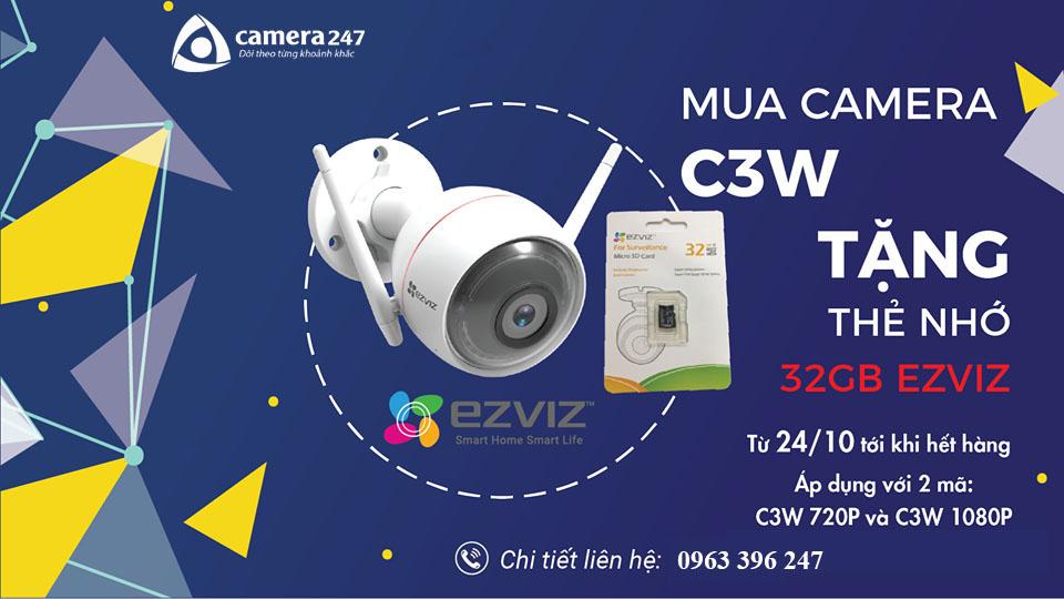Mua Camera Ezviz C3W tặng thẻ nhớ 32GB
