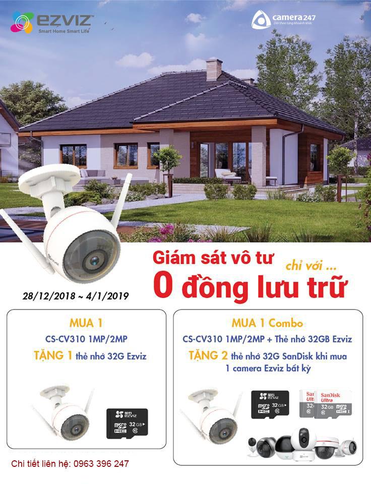 Mua camera EZVIZ CS-CV310 tặng thẻ nhớ