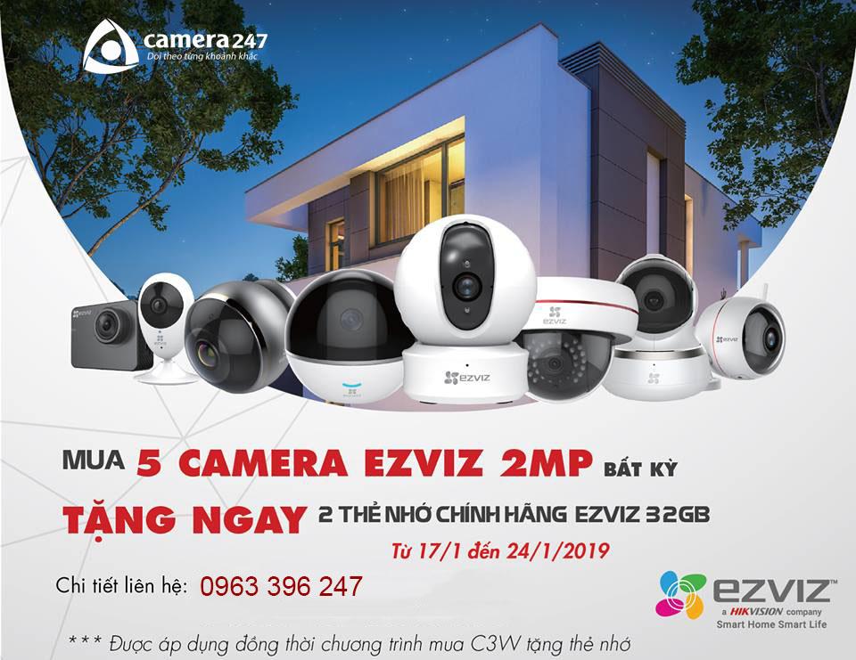 Mua camera EZVIZ tặng thẻ nhớ 32G
