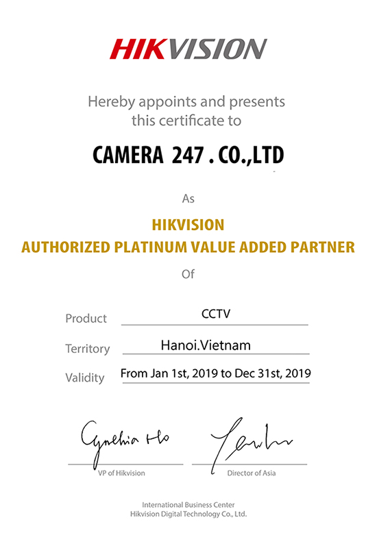 Chứng nhận đại lý Hikvsion 2019 của Camera247