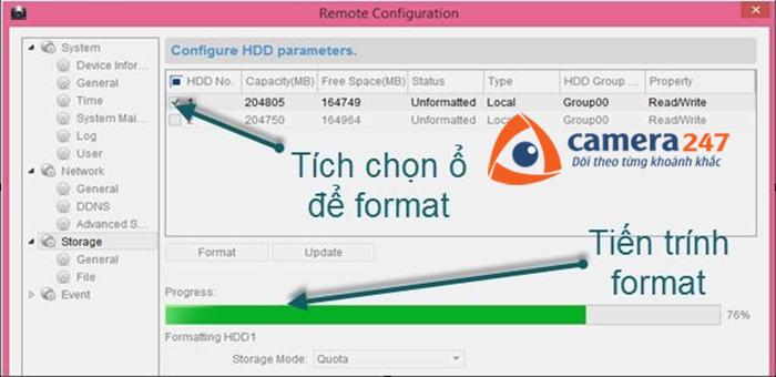 Định dạng ổ cứng cho việc ghi hình trên Storage Server 1