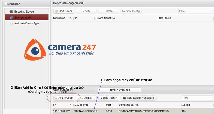 Thêm máy chủ lưu trữ cho việc ghi hình trên Storage Server 3