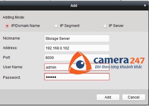Thêm máy chủ lưu trữ cho việc ghi hình trên Storage Server 4