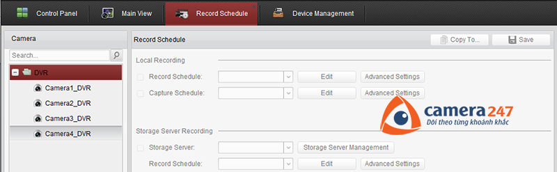 Thiết lập lịch ghi hình trên Storage Server