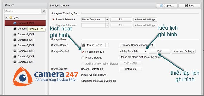 Thiết lập lịch ghi hình trên Storage Server 1