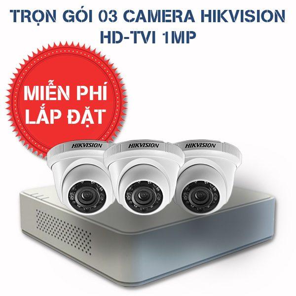 Lắp đặt trọn gói 03 camera quan sát HIKVISION HD-TVI HD