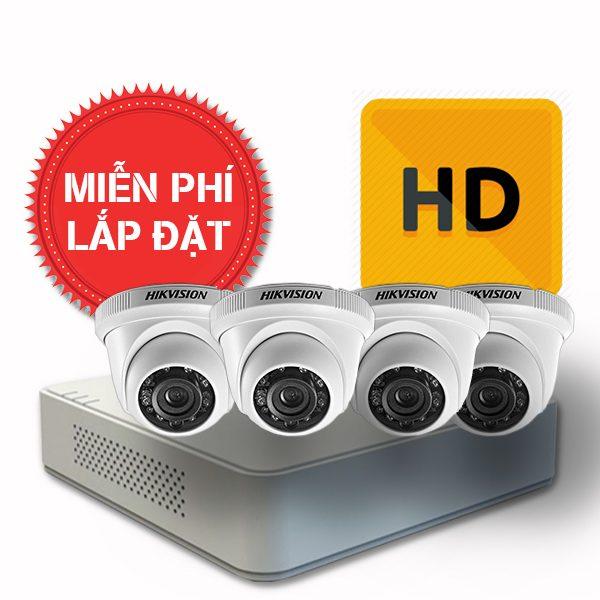 Lắp đặt trọn gói 04 camera quan sát có dây Hikvision chuẩn HD