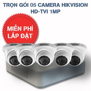 Lắp đặt trọn gói 05 camera quan sát HIKVISION HD-TVI HD