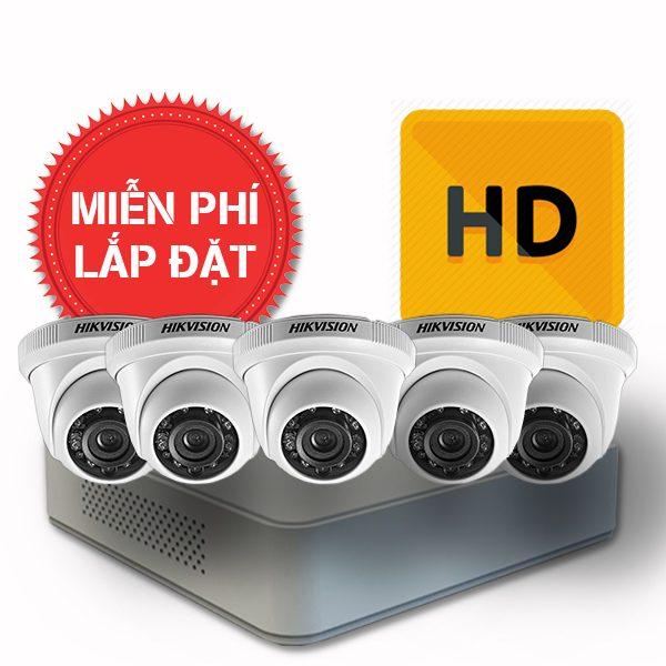 Lắp đặt trọn gói 05 camera quan sát có dây Hikvision chuẩn HD