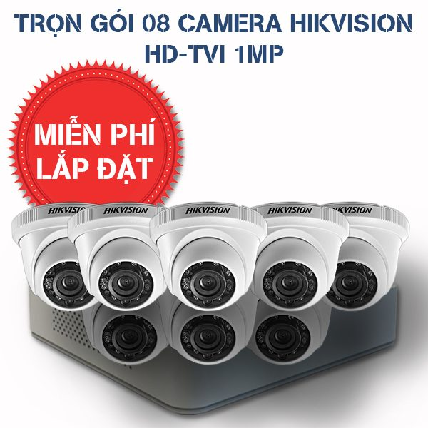 Lắp đặt trọn gói 08 camera quan sát HIKVISION HD-TVI HD