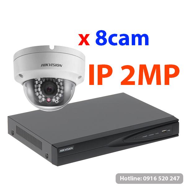 Lắp đặt trọn gói 08 camera quan sát Hikvision IP 2MP