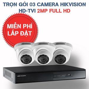 Lắp đặt trọn gói 03 camera quan sát Hikvision HD-TVI 2MP
