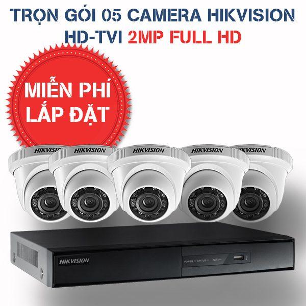 Lắp đặt trọn gói 05 camera quan sát Hikvision HD-TVI 2MP