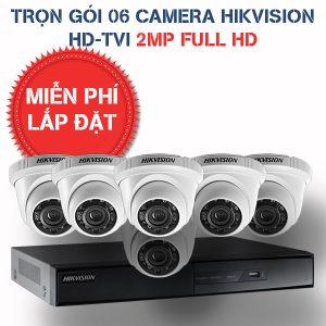 Lắp đặt trọn gói 06 camera quan sát Hikvision HD-TVI 2MP