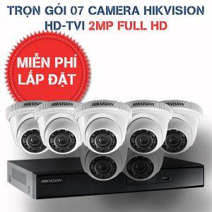 Lắp đặt trọn gói 07 camera quan sát Hikvision HD-TVI 2MP