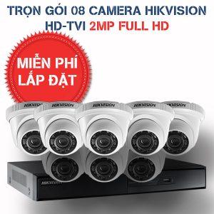 Lắp đặt trọn gói 08 camera quan sát Hikvision HD-TVI 2MP