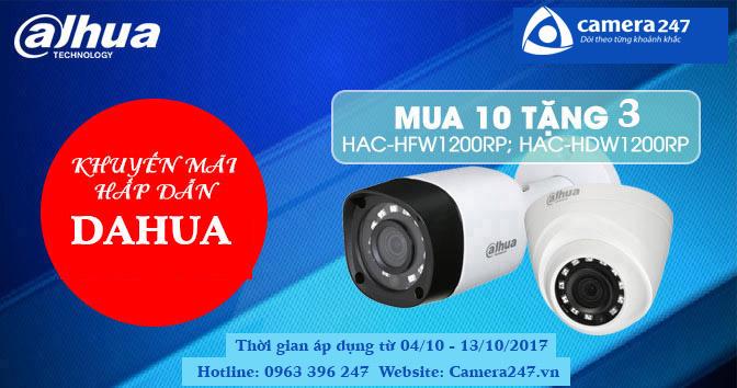 Camera247 khuyến mãi Dahua mua 10 tặng 3 tháng 10 năm 2017