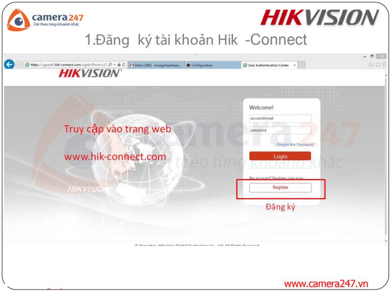 Đăng kí và sử dụng dịch vụ Hik-connect Domain bằng trình duyệt