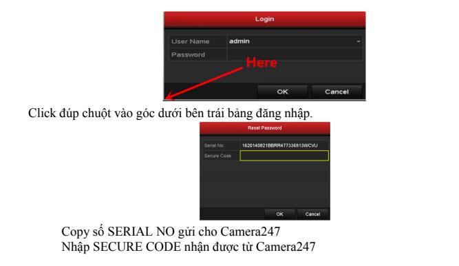 Quy trình khôi phục mật khẩu cho sản phẩm Hikvision