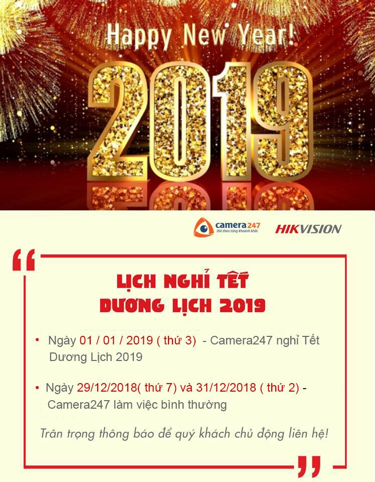 Thông báo: Lịch nghỉ Tết Dương Lịch 2019