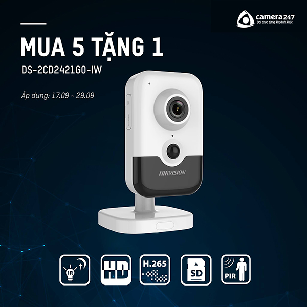 Mua 5 tặng 1 camera Hikvision DS-2CD2421G0-IW