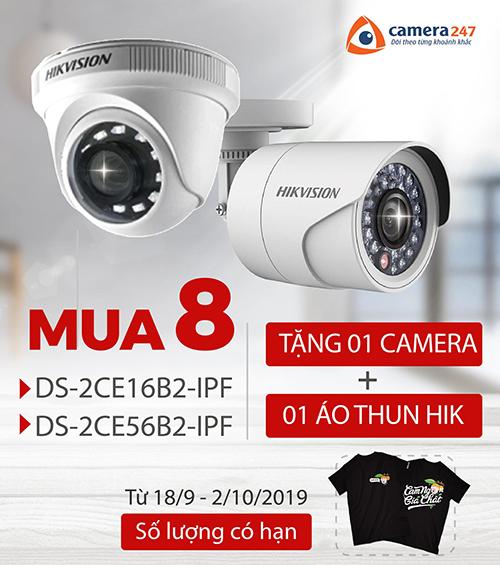 Mua 8 camera Hikvision super line B2 tặng 1