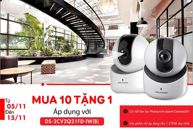 Khuyến mãi mua 10 tặng 1 camera hikvision DS-2CV2Q21FD-IW(B
