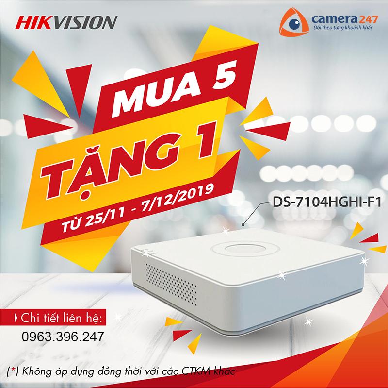 Khuyến mãi mua 5 tặng 1 đầu ghi Hikvision DS-7104HGHI-F1